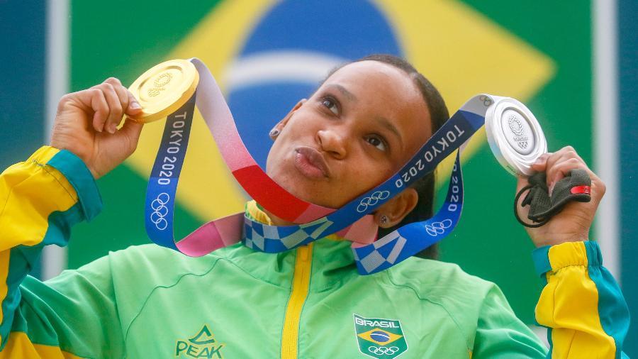 Rebeca Andrade é homenageada pelo Flamengo em volta ao Brasil - Credito Daniel Ramalho / COB