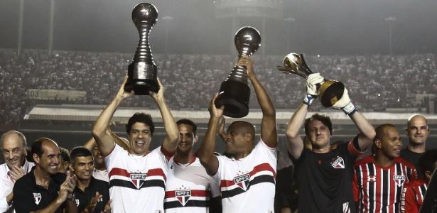 Os campeões mundiais pelo São Paulo: Raí, Ronaldão e Rogério Ceni