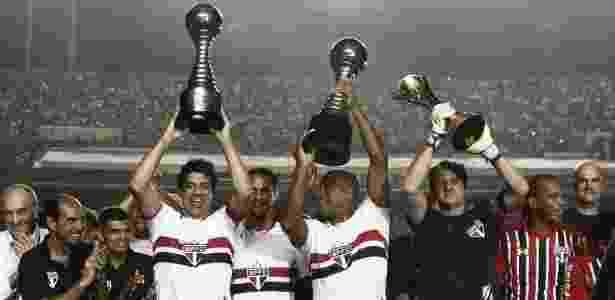 Os campeões mundiais pelo São Paulo: Raí, Ronaldão e Rogério Ceni - Miguel Schincariol / AFP