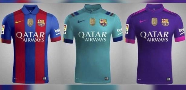 As três camisas do Barça para a próxima temporada, segundo o Sport - Reprodução/Sport