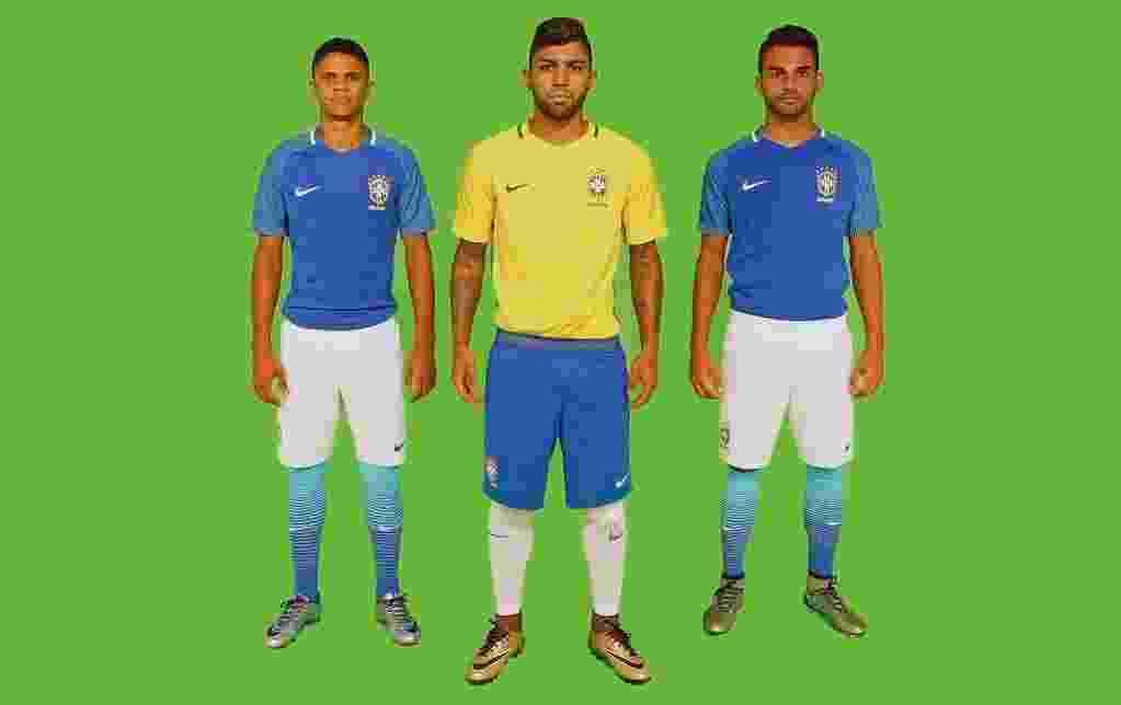Douglas Santos, Gabigol e Thiago Maia vestiram novo uniforme da seleção - CBF/Oficial