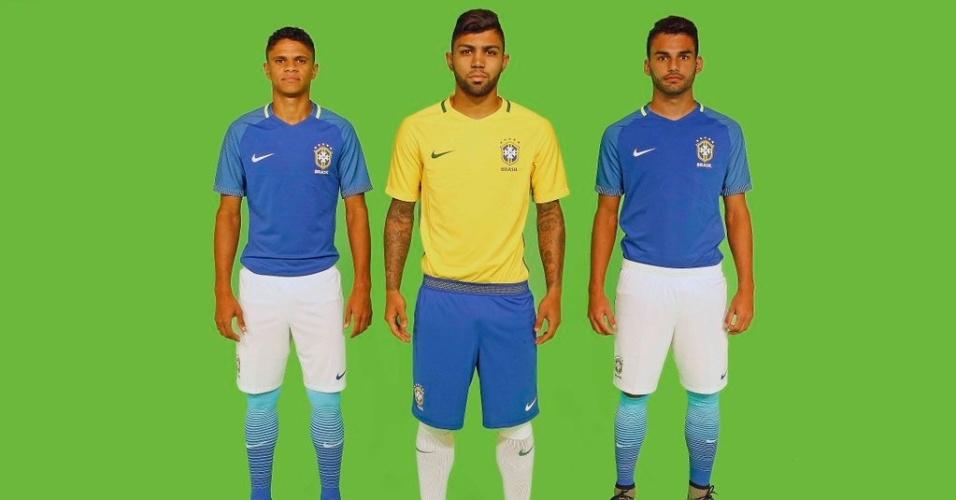 Douglas Santos, Gabigol e Thiago Maia vestiram novo uniforme da seleção