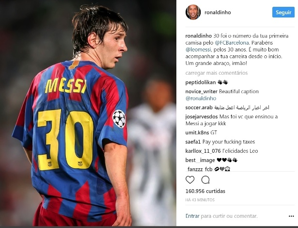 Ronaldinho parabeniza Messi pelo aniversário de 30 anos - Reprodução Instagram