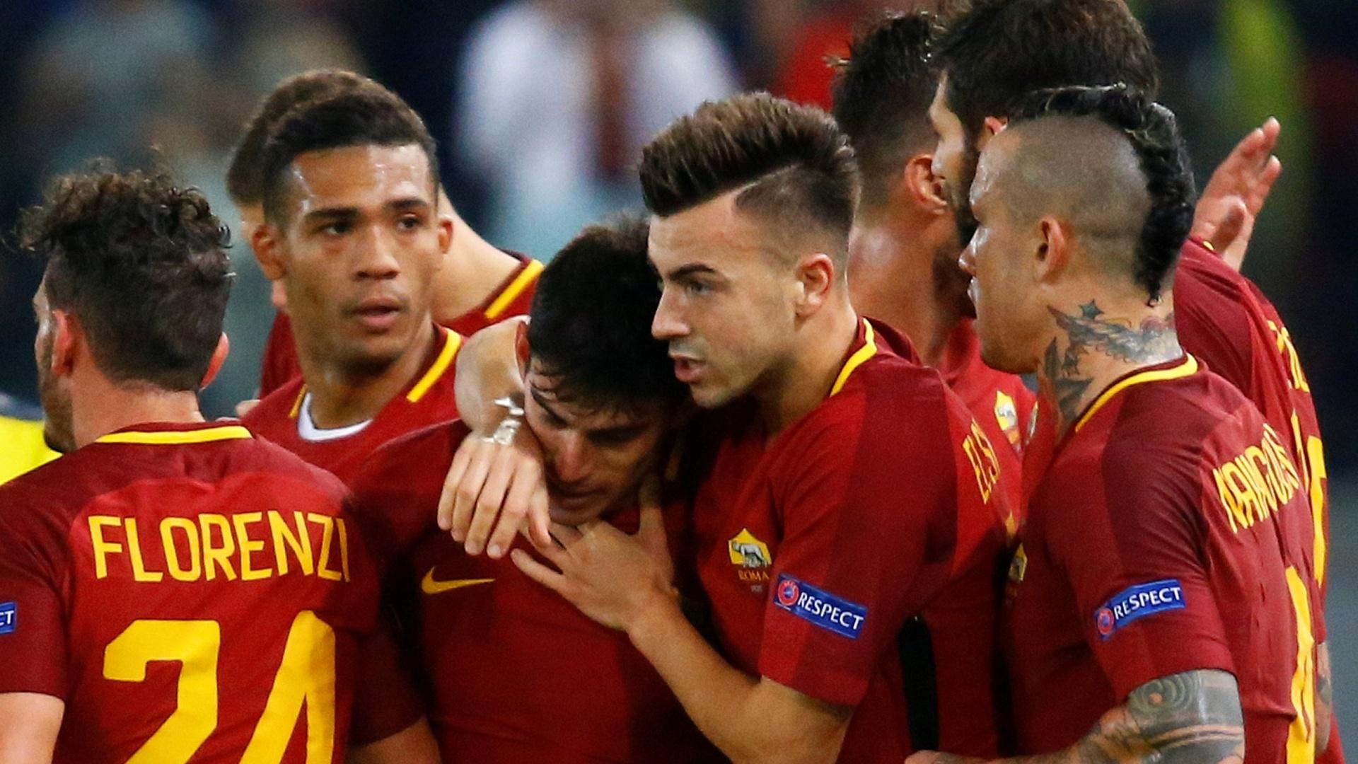 El Shaarawy e Perotti comemoram gol da Roma