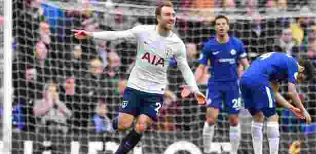 Eriksen comemora o gol de empate do Tottenham contra o Chelsea - Glyn Kirk/AFP