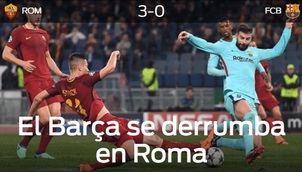 Para o Sport, da Espanha, o Barcelona desmoronou em Roma