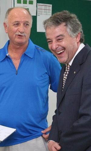 Luiz Felipe Scolari com Paulo Nobre na Academia de Futebol, em 2014