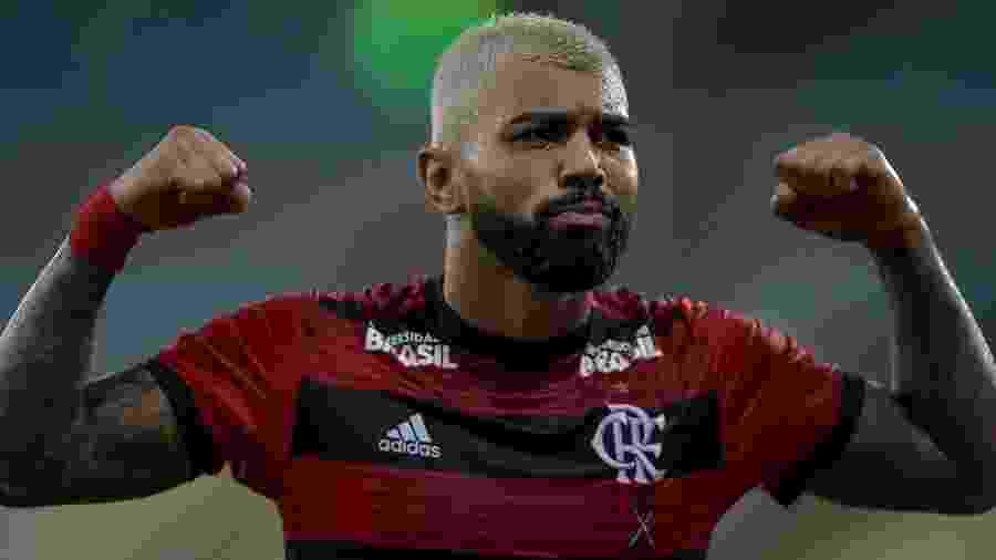 Gabigol em comemoração de gol - Thiago Ribeiro/AGIF