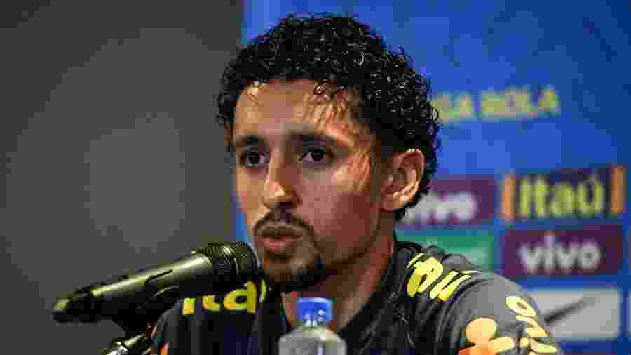 Marquinhos durante entrevista coletiva pela seleção brasileira - Pedro Martins/MoWA Press