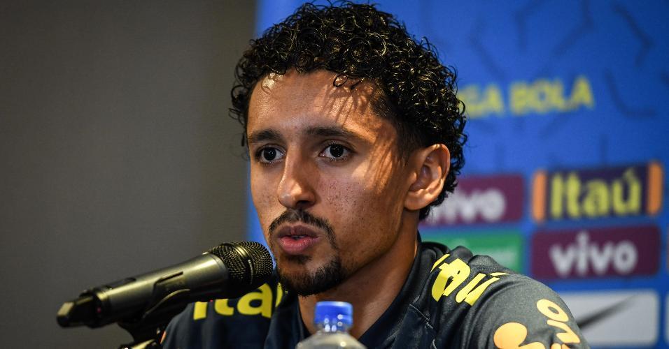 Marquinhos, durante entrevista coletiva pela seleção brasileira