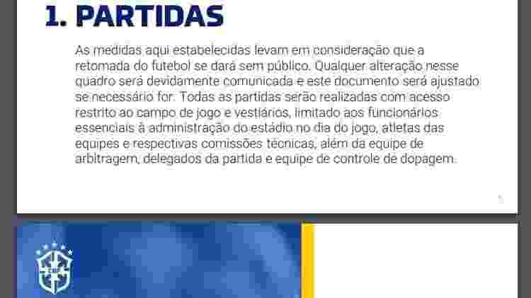 Item 1 da diretriz técnica da CBF para o Campeonato Brasileiro 2020 - Reprodução - Reprodução