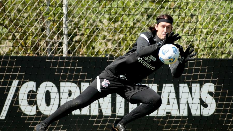 Cássio no treino do Corinthians: jogo contra o MIrassol no Paulista 2021 pegou Globo de surpresa - Rodrigo Coca/ Ag. Corinthians