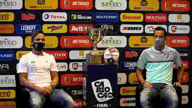 Diego, do Flamengo, e Nenê, do Fluminense, em coletiva na véspera do primeiro jogo da final do Carioca - Lucas Merçon / Fluminense F.C. - Lucas Merçon / Fluminense F.C.