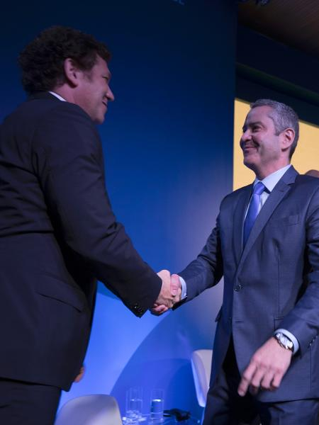 Alejandro Domínguez, presidente da Conmebol, na posse de Rogério Caboclo - Lucas Figueiredo/CBF