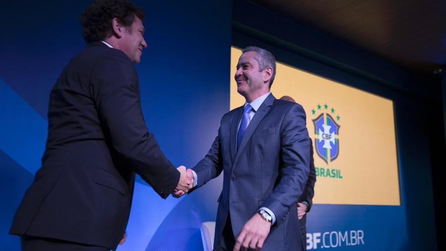 Alejandro Domínguez, presidente da Conmebol, na posse de Rogério Caboclo, presidente da CBF - Lucas Figueiredo/CBF