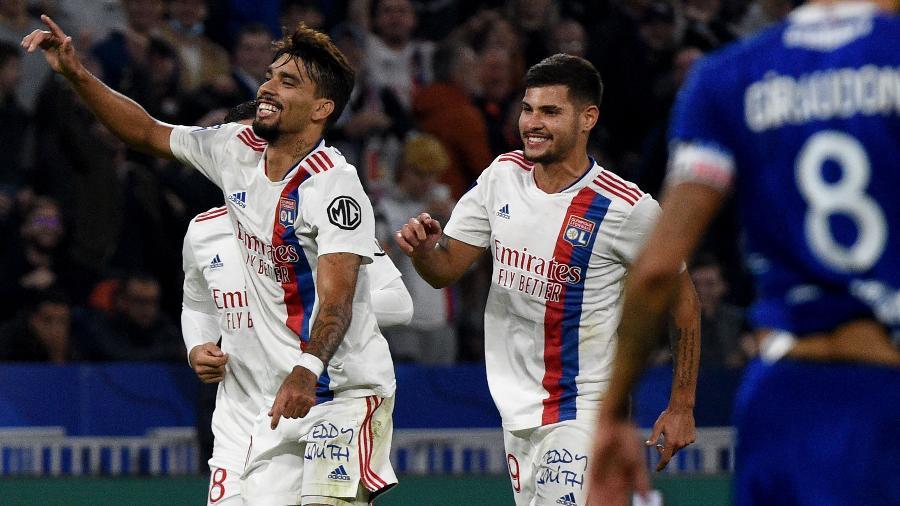 Lucas Paquetá comemora gol do Lyon contra o Troyes, pelo Campeonato Francês - AFP