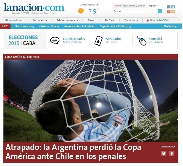 O La Nación da Argentina usou uma foto de Messi na rede com a frase