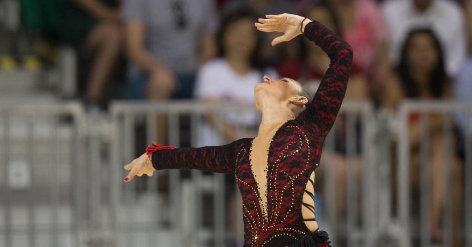 Talitha Haas durante sua prova na patinação artística nos Jogos Pan-Americanos de Toronto