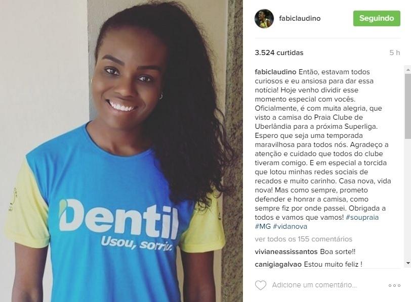 Fabiana anuncia novo clube em rede social