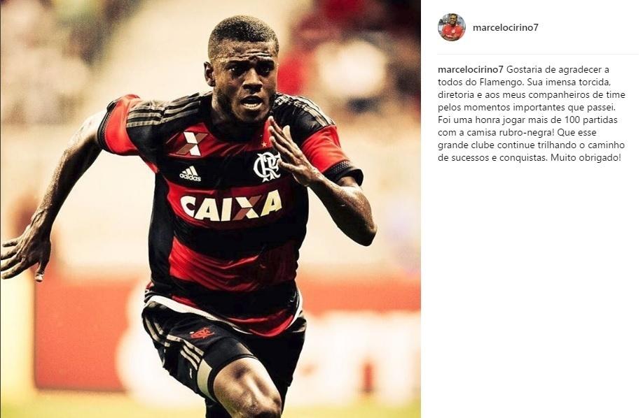 Marcelo Cirino posta mensagem de despedida para o Flamengo