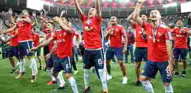 Jogadores do Independiente celebram título no Maracanã - Xinhua/Li Ming