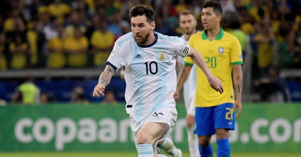 Lionel Messi no jogo Brasil x Argentina pela Copa América