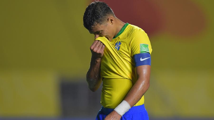 Thiago Silva atuando pela seleção brasileira - Nelson Almeida-Pool/Getty Images