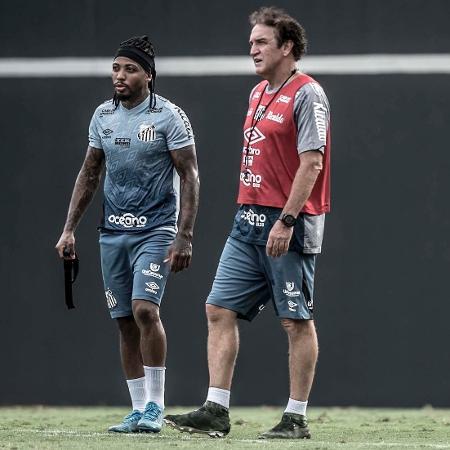 Cuca e Marinho no treino do Santos no CT Rei Pelé (09/02/2021) - Ivan Storti/Santos FC