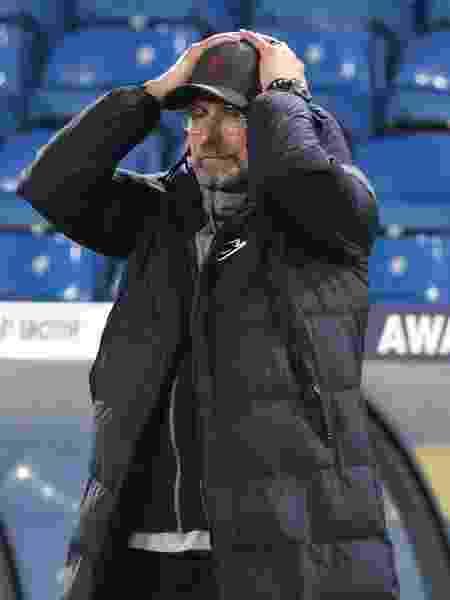 Jurgen Klopp lamenta lance durante partida do Liverpool contra o Leeds no Campeonato Inglês 2020-21 - Clive Brunskill/Getty Images - Clive Brunskill/Getty Images