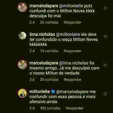 Milton Leite não gostou de ser confundido com Milton Neves, apoiador do presidente Jair Bolsonaro - Reprodução/Instagram - Reprodução/Instagram