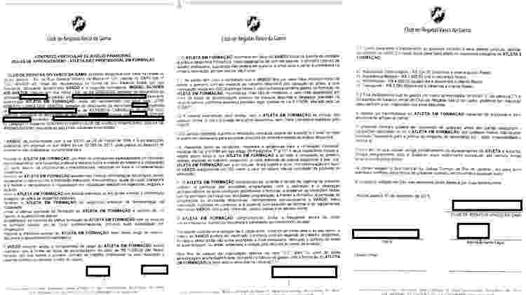 Contrato de formação firmado entre Vasco da Gama e Miguel em novembro de 2015 - Divulgação - Divulgação