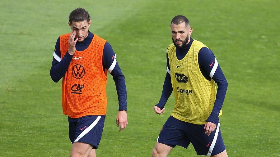 Adrien Rabiot e Karim Benzema não estiveram no título francês na Copa 2018 e são novidades na Eurocopa 2021 - John Berry/Getty Image