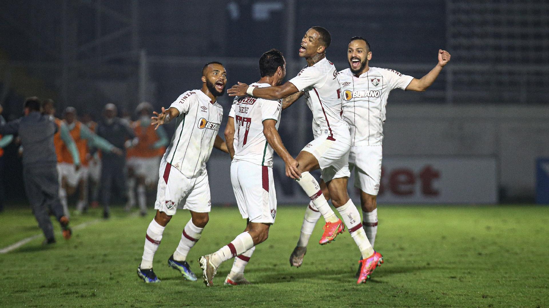 Jogadores do Fluminense gol sobre o Redbull Bragantino, em Bragança Paulista, pela 3ª fase da Copa do Brasil 2021, jogo da volta
