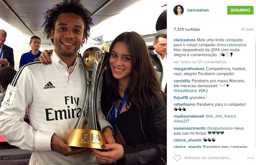 Marcelo, do Real Madrid, é casado com a atriz Clarice Alves