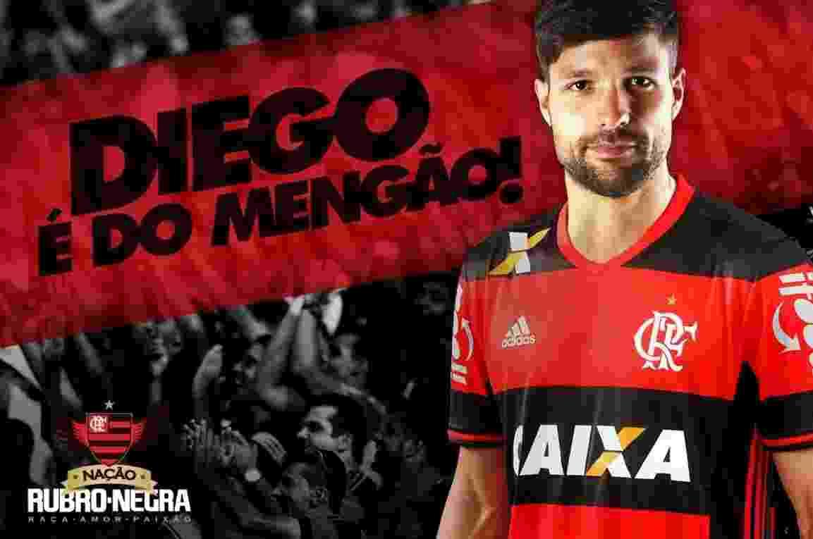 Flamengo divulgou arte para anunciar contratação do meia Diego - Divulgação/Flamengo