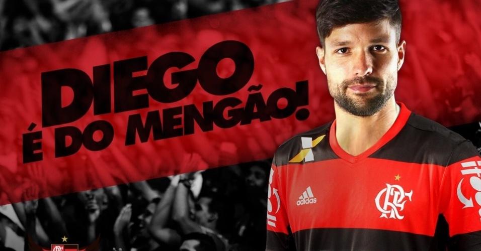 Flamengo divulgou arte para anunciar contratação do meia Diego