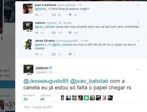 Jadson responde torcedor e diz que deve assinar com Corinthians na ... 13626295dd2c0
