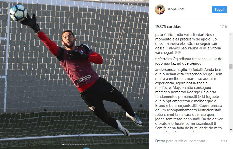 Alexandre Pato demonstra apoio ao São Paulo no Instagram