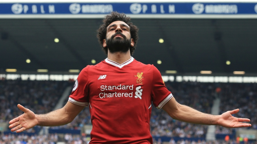 Mohamed Salah marca para o Liverpool contra o West Bromwich - Lindsey Parnaby/AFP