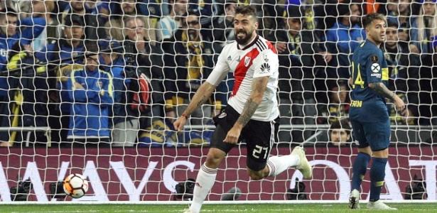 Lucas Pratto foi um dos heróis da conquista da Libertadores marcando dois gols nas partidas da final - Rodrigo Jimenez/EFE