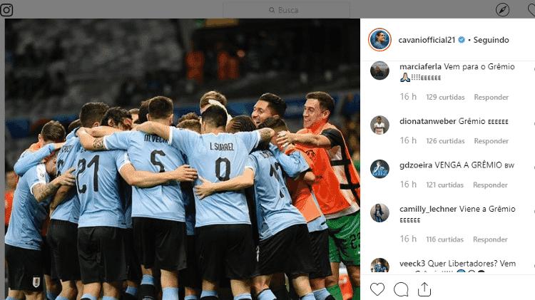 Torcida do Grêmio invade Instagram de Cavani com convite para atuar no clube - Reprodução - Reprodução