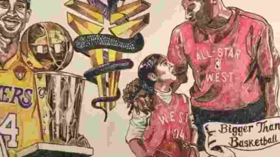 Mural feito por um professor de artes na Flórida (EUA) em homenagem a Kobe Bryant e a filha, Gianna - Reprodução