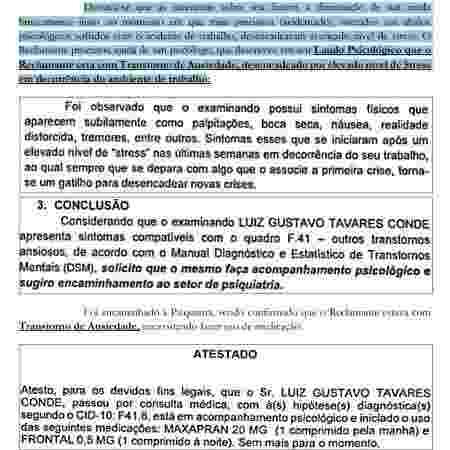 Trecho de processo do jogador Luiz Gustavo contra o Cuiabá - Reprodução - Reprodução