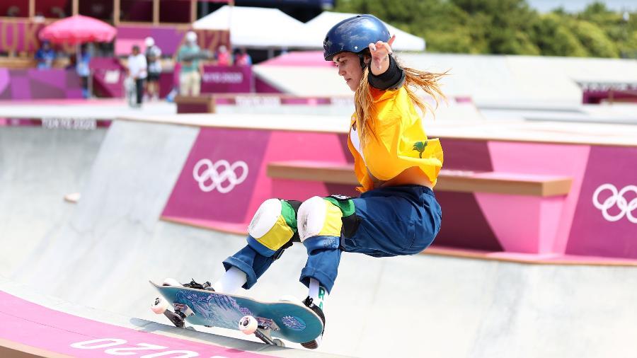 Yndiara Asp, do Brasil, durante classificatórias do skate park nas Olimpíadas - REUTERS/Lisi Niesner