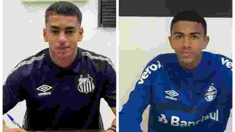 Filhos de Tinga, Daniel (d) e Davis (e), defendem o sub-15 do Grêmio e o sub-20 do Santos, respectivamente - Arquivo pessoal - Arquivo pessoal