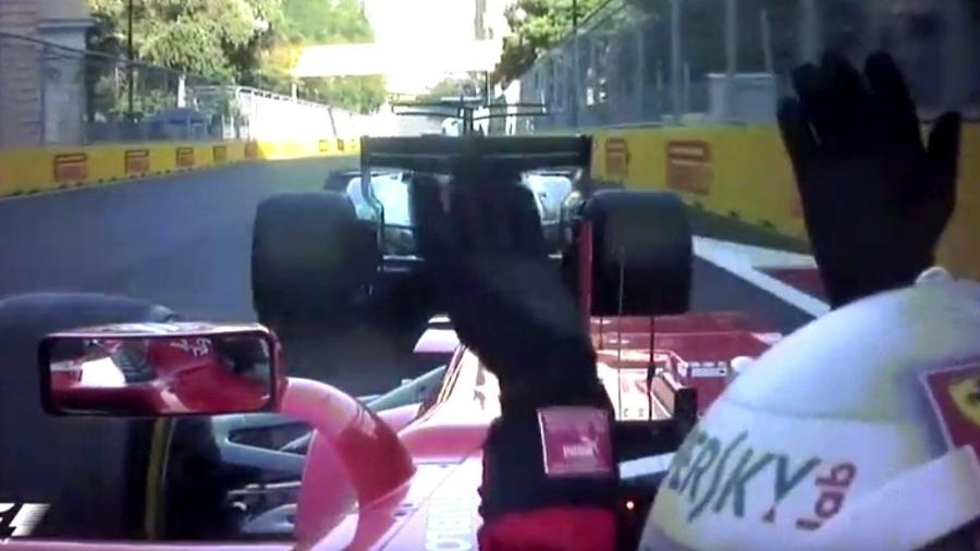 Vettel reclama com Hamilton após freada brusca do piloto inglês - F1/oficial