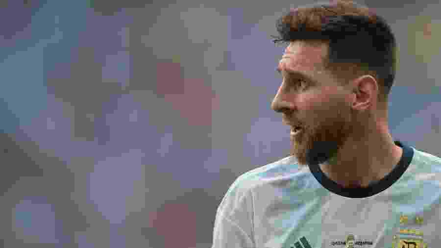 Messi durante o jogo entre Argentina x Qatar pela Copa América. Seleção se classificou - Carl de Souza/AFP
