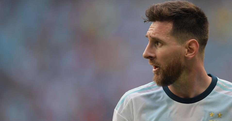 Messi durante o jogo entre Argentina x Qatar pela Copa América