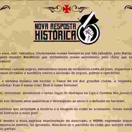 Sócios do Vasco criaram site para recolher assinaturas visando eleições diretas - Reprodução / Site Nova Resposta Histórica
