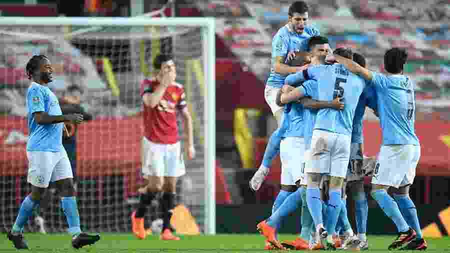 Manchester City comemora gol na vitória contra o Manchester Uniter, pela Copa da Liga Inglesa - Getty Images